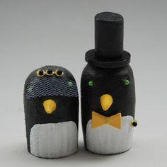 Penguin Wedding Cake Toppers. $60.00, via Etsy.