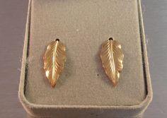 14K Gold Earrings Hanging Vine French Hooks