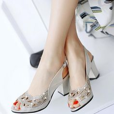 58f36f39c643e Crystal Gladiator Buckle Strap Peep Toe Heels Sandals Shoes. Peep Toe Heels