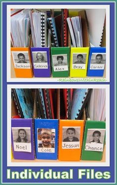 in The Classroom Individual Student Bins for Classroom Organization with Pictures and Name!Individual Student Bins for Classroom Organization with Pictures and Name! Classroom Organisation, Teacher Organization, Classroom Management, Organization Ideas, Organized Teacher, Organizing, Behavior Management, Clothing Organization, Folder Organization