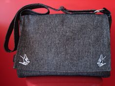 Tweed-Messenger-Swallow-Patches. $69.95, via Etsy.