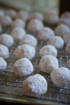 pecan studded, powdered sugar coated, butter cookies