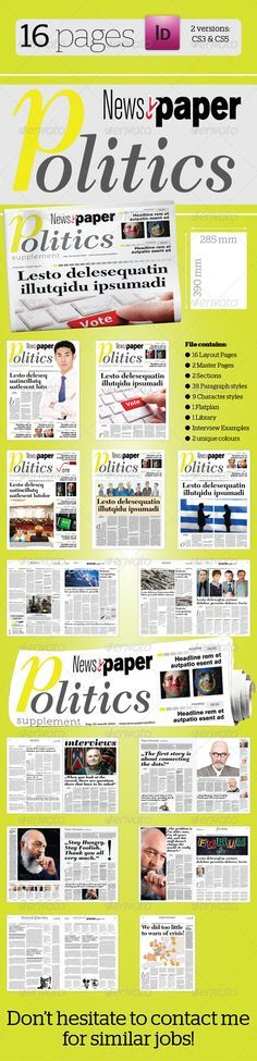 16 Pages #Politics #Supplement For News.Paper - #Newsletters Print Templates Download here: https://graphicriver.net/item/16-pages-politics-supplement-for-newspaper/2932802?ref=alena994