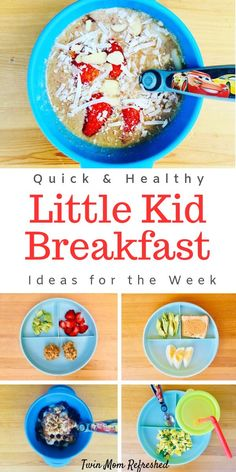 Easy toddler breakfast ideas that are healthy. These toddler food ideas for breakfast are quick and easy to make! Healthy and realistic toddler meals for a one year old, 2 year old, preschoolers, and kids. Healthy Toddler Breakfast, Healthy Toddler Meals, Toddler Lunches, Healthy Breakfast Recipes, Kids Meals, Easy Meals, Healthy Recipes, Toddler Food, Toddler Dinners