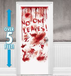 Dripping Blood Door Cover 33 1/2in x 65in - Asylum - Party City