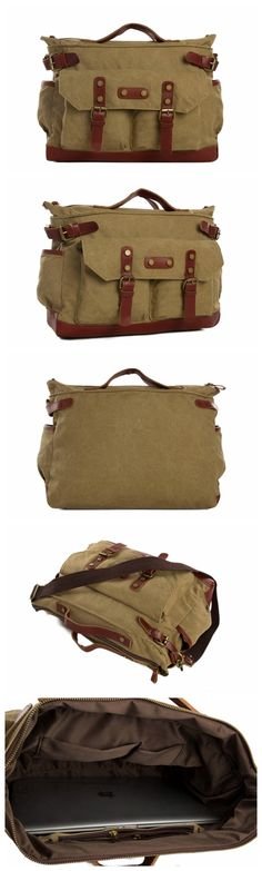 Canvas Leather Briefcase Messenger Bag, Waxed Canvas Laptop Bag Travel Bag
