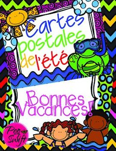 Summer Postcards in French ~ Cartes postales de l't! Send your students off for summer vacation with these fun postcards! 24 cards in different designs and colours! Print onto heavy paper, cut them out and you're ready to address them to your students. End Of Year Activities, Kindergarten Activities, Writing Activities, Teaching French Immersion, French Teaching Resources, Teaching Ideas, Core French, Free In French, French Classroom