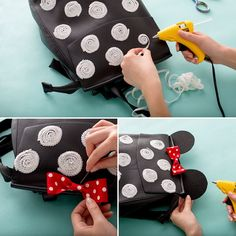 You can make a Minnie Mouse polka dot sequin backpack for your next trip to Disneyland or Disney World with this style DIY tutorial.