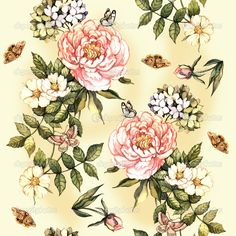 Vintage pattern with watercolor flowers — Imagem Stock #49407631