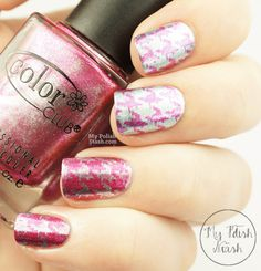 Color Club Hot Like Lava and Lumin-icecent houndstooth nail design #nails #nailart