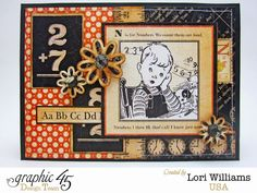 ABC Primer Card with Graphic 45 - Created by Lori Williams of Pinkcloud Scrappers