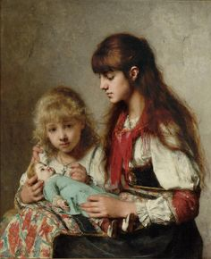 Sisters by Alexei Alexeievich Harlamoff (1888) private collection