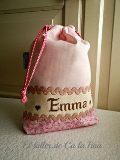 Bolsita para pañales personalizada para Emma #bebes #canastillas