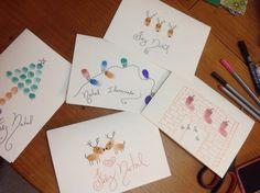 Cartões de Natal com carimbos de dedos. Original e Criativo!