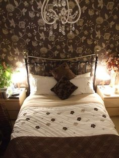 Brown bedroom- love the lights