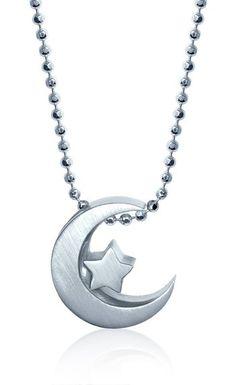 "Alex Woo ""Little Faith"" Sterling Silver Crescent Moon Pendant Necklace, 16"""