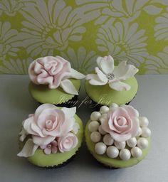 Elegant Garden Modern Shabby Chic Spring Summer Vintage Blush Champagne Green Pink Cupcakes