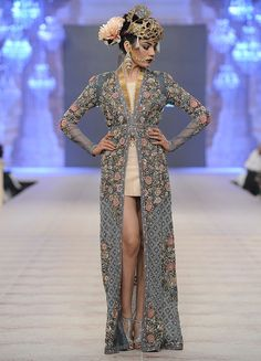 Fahad Hussayn - PFDC L`Oreal Paris Bridal Week 2014: Love the long embroidered jacket.