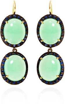 Yellow Gold Chrysoprase and Sapphire Kat Earrings