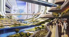 Mass Effect - Citadel Concept Art Space Architecture, Futuristic Architecture, Chinese Architecture, Fantasy Places, Sci Fi Fantasy, Environment Concept Art, Environment Design, Syd Mead, Inspiration Artistique