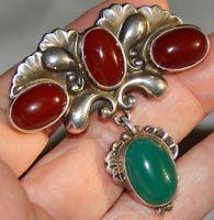 Fabulous Genuine Georg Jensen Art Nouveau Sterling & Stones Pin