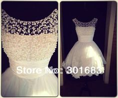 Real Pictures New Style Scooped Neckline Beaded Pearls Lace Short Wedding Dress-in Wedding Dresses from Apparel & Accessories on Aliexpress....