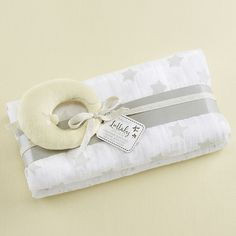 Lullaby Swaddle Blankets with Plush Rattle | Corner Stork Baby Gifts
