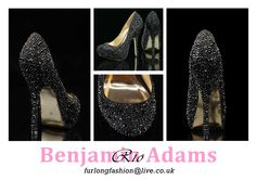 Benjamin Adams Rio black crystal covered platform evening shoes - striking black silk set against sparkling multi-sized black crystals!  Made in finest quality black silk  Soft kid gold coloured leather lining, Leather Sole   Heel height approx 12cm   Available in sizes 35-41 (UK 2-8)  FREE UK Delivery   Rio evening shoes are uber stylish platform courts with a bold sparkling finish in jet black crystals - fashionable black crystal shoes for the modern bride or mother-of-the-bride!