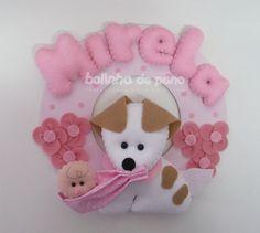 Enfeite De Porta Cachorro Com Bebê rosa