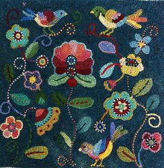 hooked rug pillow designed by Susan Quiksall (by rockcandymosaics)