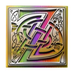"""Z Monogram Tile """"Celtic Rainbow"""" design. 4.25"""" and 6"""" square sizes, glossy finish. premium quality. Accent any room in your home and office with a tile inlay decorative box, trivet, or make it a part of your tile works projects. Use single initials, create a monogram or spell out your favorite quote.  http://www.zazzle.com/z_celtic_rainbow_custom_monogram_tile-227649608516823623?rf=238301468915483943    #Monograms #Tiles #Celtic #Rainbow #DecorativeBoxes #HomeDecor #MonogramTiles"""
