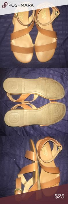 Franco Sarto Tan Leather Sandals Gently worn Franco Sarto brown Sandals, just a minor scuff on the left front sandal (shown on picture) other than that it's in perfect condition. (Come with box) Franco Sarto Shoes Sandals