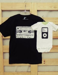 Daddy and Me Shirt Set Cassette and Ipod You by littletreetopsbaby, $20.00