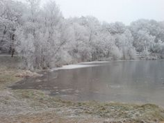 A lake with snow photographed in the winter - Germany. photo is public domain