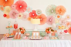 LOVE the pinwheels! [Pretty dessert table with pinwheel decor]