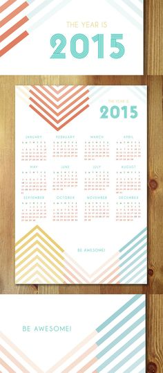 12x18 The Year Is... 2015 Modern Chevron Wall Calendar by Earmark