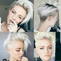 Who wants to see more multi angle pixie cuts Great blonde of @brittenelle do you love cut or color more Her stylist is @riawna