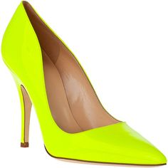 KATE SPADE Licorice Pump Fluorescent Yellow Patent ($298) ❤ liked on Polyvore…