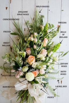 Wedding Bouquet Recipe ~ A Stunning Sheath Bridal Bouquet of Country Garden Blooms