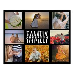 Family 8 Photo Collage Template Add Custom Name Acrylic Print photocollagegift Photo Collage Gift, Family Photo Collages, Photo Collage Template, Picture Templates, Personalized Posters, Personalized Wall Art, Personalized Gifts, Photoshop For Photographers, Photoshop Actions