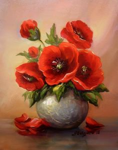 Tablouri de vis va ofera : Anca Bulgaru : Buchetel Cu Anemone - (Just One) Watercolor Flowers, Watercolor Art, Design Floral, Arte Floral, Pictures To Paint, Red Poppies, Acrylic Art, Beautiful Paintings, Painting Inspiration