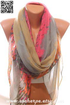 Camel Grey Pink Orange Scarf Lightweight Spring Summer Trend Infinity Scarf Women's Fashion Accessories Scarves Gift Ideas For Her