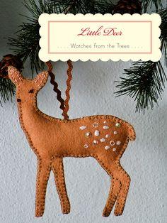 embroidered felt deer Christmas ornament