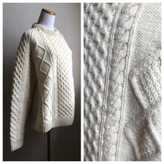 Vintage Fisherman Sweater | Cable Knit Creme Sweater | Oversized Vintage Sweater | Irish Sweater | Textured White Sweater | 90s Sweater by VintageBobbieMaude on Etsy