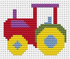 Sew Simple Tractor cross stitch kit from Fat Cat Cross Stitch at Busy Lizzie Crafts Cross Stitch For Kids, Cross Stitch Cards, Cross Stitch Baby, Simple Cross Stitch, Counted Cross Stitch Kits, Cat Cross Stitches, Cross Stitching, Cross Stitch Embroidery, Simple Embroidery