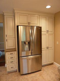 Pine Kitchen Cabinets, Kraftmaid Kitchen Cabinets, Kitchen Ikea, Kitchen Cabinet Design, Kitchen Redo, Kitchen Remodel, Kitchen Cabinets With Crown Molding, Ikea Pantry, Farmhouse Cabinets