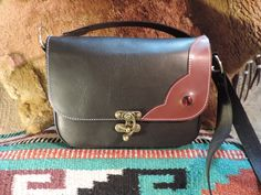 Medium size black leather bag with brown flap applique with inlayed red Art Glass by RoundOakLeather on Etsy