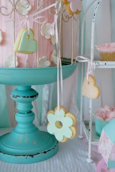 Adorable cookie tree at a Shabby Pink and Mint Baby Shower!  See more party ideas at CatchMyParty.com!