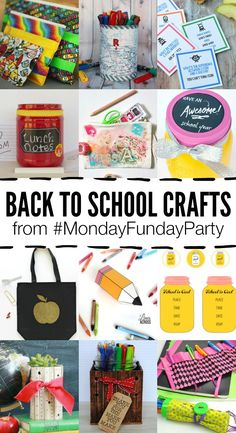 12 Fun Back to School Crafts for the kids! Printables, pen and pencil storage, lunch notes, homework organization and storage ideas. Back To School Party, Back To School Crafts, Back To School Teacher, Back To School Supplies, School Parties, School Gifts, School Fun, School Ideas, Crafts For Kids