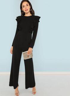 Ruffle Trim Palazzo Jumpsuit Neckline Round Neck P Jumpsuit Outfit, Casual Jumpsuit, Ankara, Palazzo Jumpsuit, Fashion News, Fashion Outfits, Womens Fashion, Wedding Jumpsuit, Jumpsuit Pattern